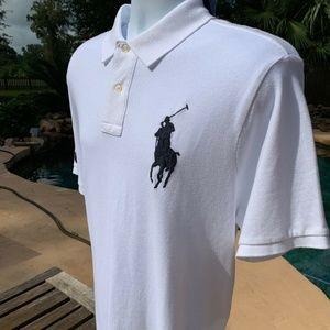 POLO RALPH LAUREN White Mesh Big Pony Polo Shirt